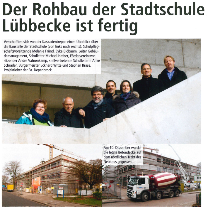Der Rohbau der Stadtschule Lübbecke ist fertig