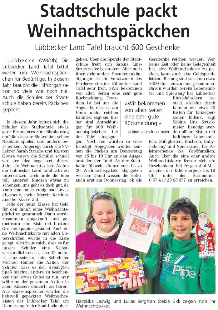 Stadtschule packt Weihnachtspäckchen