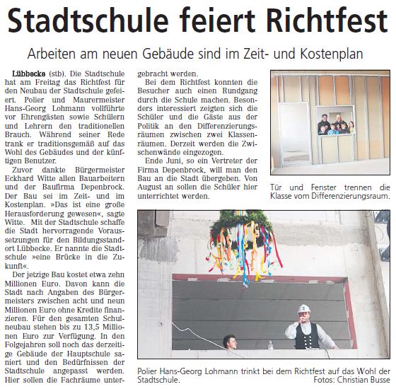 Stadtschule feiert Richtfest